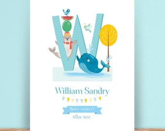 Baby or Child's Personalised Illustrated Alphabet - Name - Initial - Art Print - Christening Gift - Present - Nursery Decoration - Digital