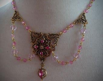 Sweetheart Pink Princess Crystal Vintage Valentine Victorian Golden Necklace