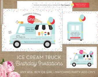 Ice Cream Truck Birthday Invitations / Popsicle, Ice Cream Party, Scoop / 1st Birthday, First Birthday, Two, 2, 3, etc / DIY or Printed