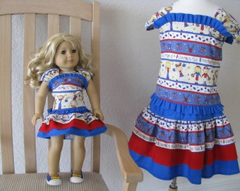 Patriotic Girl's Size 5 Two-Piece Dress with Ruffles and Laced Back with Matching 18 Inch Doll Two-Piece Dress