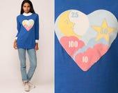 Pajama Shirt MOON STAR Sleep Shirt Pajama TShirt 80s Night Shirt Retro Vintage Long Sleeve Paper Thin Blue Burnout Ringer Medium