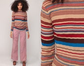 Pullover Sweater 70s Sweater Boho Striped Knit Sweater 1970s Bohemian Hippie Vintage Brown Tan Blue Small Medium
