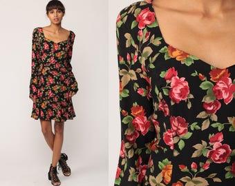 Bohemian Dress 90s Floral Dress ROSE PRINT Grunge Boho Mini Black Pink 1990s Vintage Fitted Sheath Long Sleeve Retro Orange Medium