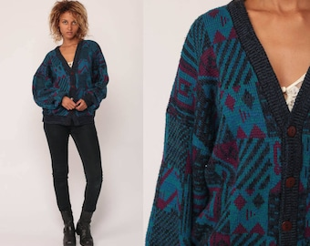 Grunge Cardigan Sweater 80s Abstract Geometric Print Blue Boho Button Up 1980s Preppy Grandpa Bohemian Vintage Large