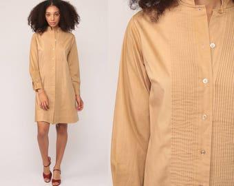 Shirtdress 70s Shift Dress Mod Button Up Mini Plain Tan Pintuck Mandarin Collar 1970s Long Sleeve Vintage Twiggy Shirt Dress Medium
