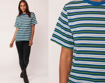 Striped TShirt 80s T Shirt Blue White Green Hipster Retro Tee Vintage Ringer Minimalist Normcore 1980s Short Sleeve Medium
