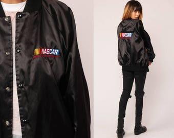 NASCAR Jacket Satin Bomber Jacket Race Cars 80s Moto Cafe Racer Shiny Black Sports Coat 1980s Vintage Motorsport Retro Snap Large