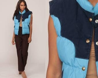 Down Vest Winter Vest Puffer Vest Ski Vest Retro 70s Vest Goose Down Feather Puffy Sleeveless Jacket Baby Blue Hipster Vintage 1970s Medium