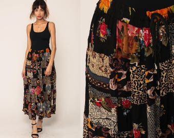 Boho Skirt PATCHWORK Floral Skirt Broomstick Gypsy Maxi Hippie Floral 90s Bohemian Grunge 1990s Ethnic Vintage Black Small Medium Large xl