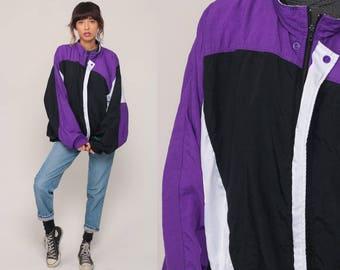 Nike Jacket 90s Windbreaker Nylon Shell Zip Jacket Black Color Block Striped Streetwear Purple Vintage 1990s Sports Extra Large xl