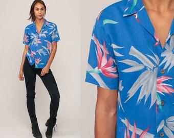 Tropical Shirt Hawaiian Shirt 80s Floral Blouse SURFER Button Up Shirt Vintage Blue Beach Sea Ocean Vacation Medium