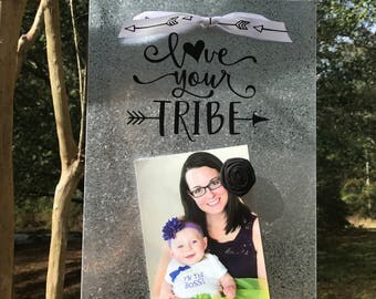 Love your tribe - Magnetic Board - Magnet Picture Frame - Positive Vibes - Dry Erase Board - Magnetic Memo Board - Rustic Message Board