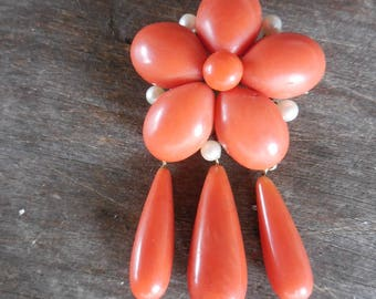 Antique Victorian Salmon Coral & Pearl Dangle Drop Pin Brooch