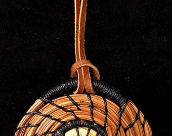 "3"" Coiled Pine Needle Ornament with Jasper Center"