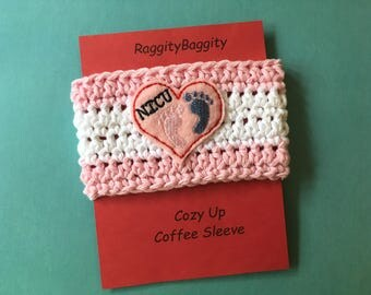 Coffee Cup Cozy in Pale Pink and  White Stripe with a NICU Heart Feltie