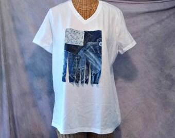 Boho Flag T Shirt Womens Size M, L, 1x V Neck White Blue Daisy Quilted Patchwork Art Wear Fringe Tops Upcycled Calico, Denim Print