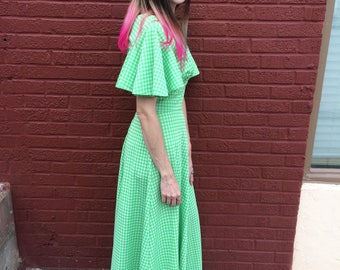 Vintage 60s / 70s Polyester Gingham Maxi Dress with Open Back