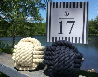 10-15 Nautical Knot Table Number Holders, Blue Knots, Cream Knots, Mix them up, Cotton Knots, 4.5 inch, Nautical Wedding, Rope Place Card