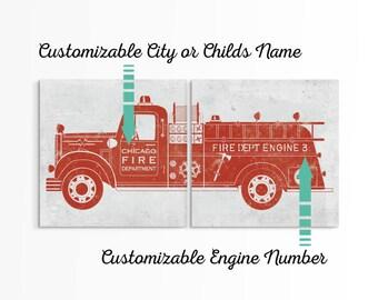 Fire Truck Baby - Firetruck Wall Art  - Firefighter Gift for Him - Newborn Firefighter - Fire Engine Nursery - Fire Truck Sign - Firefighter