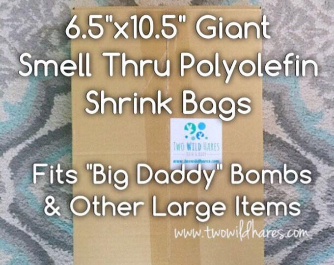 """500- 6.5""""x10.5"""" POLYOLEFIN GIANT Shrink Bags (Smell Thru Plastic) 75 g, Fits 4"""" Big Daddy Bath Bomb!"""