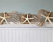 Beach Decor Starfish Garland, Nautical Decor Fish Net Netting Starfish Garland, Coastal White Starfish Seashell Garland, 10FT