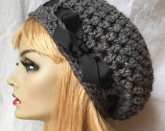 Crochet Womens Hat, Slouchy Beret, Charcoal Gray or Pick Your Color, Ribbon, Chunky, Teens, Birthday Gifts, Gifts for Her JE407SBR4