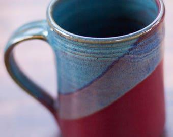 Handmade Ceramic Coffee Mug -- Raspberry Red / Twilight blue  hand thrown clay pottery mug -- Ceramic mug pottery coffee mug