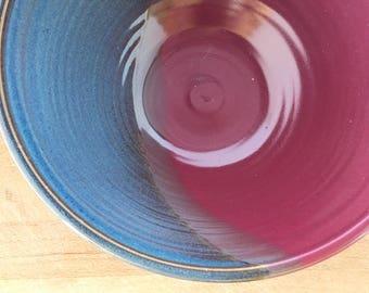"""Handmade Ceramic Salad Bowl-- Blue Red Hand thrown stoneware ceramic serving mixing bowl - large 9"""" ceramic blue mixing bowl"""