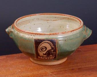 Earthy Eggshell  Porridge Bowl ~ Green Bay Packers Design ~