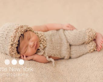Overalls Bonnet Set Organic Photo Prop Baby Hat Newborn Boy Romper Outfit Hand Knit Jester Cap Dungarees Girl Going Home Pants Coming Neutra