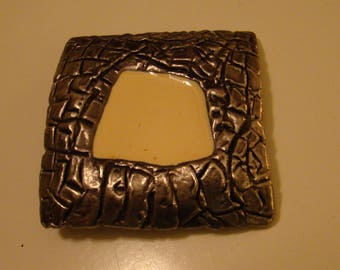 Vintage Heavy Thick Pewter Belt Buckle with cream colored center