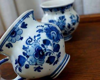 Vintage Delft Sugar and Creamer Floral Blue and White Delftware Miniature
