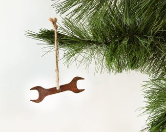 Metal Wrench Ornament by WATTO Distinctive Metal Wear / Tool / Rusty Metal Ornament / Gift for Him / Christmas Ornament / Stocking Stuffer