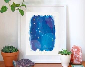 Cancer Star Sign, Cancer Zodiac Art Print, Astrology Gift, Cancer Gifts, Horoscope Art, Constellation Poster, Horoscope Decor, A4, A3