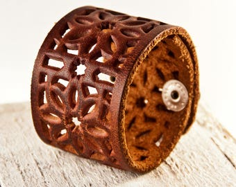 Brown Leather Jewelry, Leather Cuffs, Leather Bracelets, Brown Cuff Wristband, Leather Wrist Cuffs, Leather Accessories