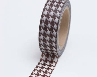 25% Off Summer Sale Washi Tape - 15mm - Chocolate Brown Houndstooth - Deco Paper Tape No. 755