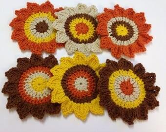 Sunflower Coasters, First Thanksgiving, Crochet Coaster, Fall Coaster Set, Fall Ornaments, Cozy Fall Decor, Autumn Centerpiece, Happy Fall
