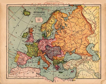 Digital Image Vintage Print Map of Pre-1930 European Political Zones Ancestry Pink Yellow Blue 4.22MB