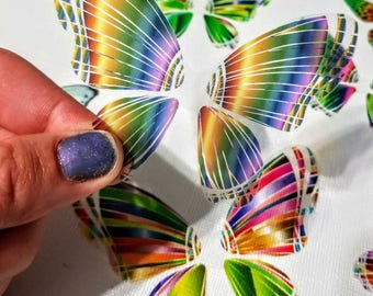 Rainbow Butterfly Wing Sections Transparency Cut Outs - 8 Random