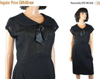 ON SALE Vintage Cocktail Dress Sz S 50s 60s Textured Crepe Sailor Collar Bombshell Gown Free Us Shipping