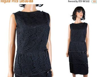 ON SALE 60s Cocktail Dress Sz M Vintage Black Lace Sleeveless Hourglass Bombshell Gown Free Us Shipping
