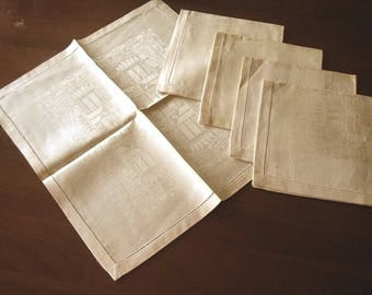 DAMASK Napkins for Tablecloth Replacement Set Vintage Linen Hemstitched 4 NEW Unused