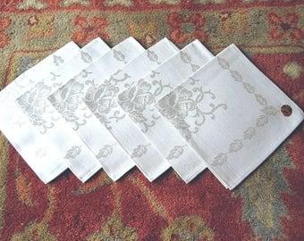 DAMASK Napkins for Tablecloth Replacement Set Vintage COTTON Blend Set 6 Gray NEW