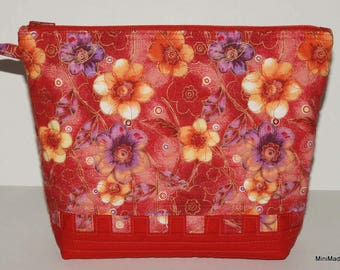 Quilted Makeup Bag, Wristlet, Clutch, Redm Yellow and Purple Floral with Yellow Lining