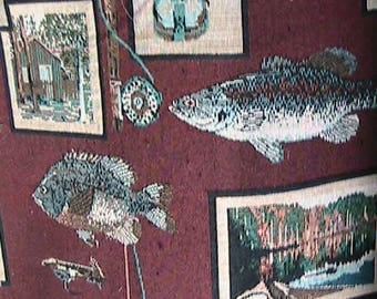 Fish camp tapestry print fabric