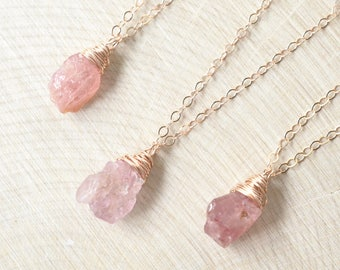 Raw Sapphire Necklace, Pink Sapphire Rose Gold Filled, September Birthstone, Rough Sapphire Jewelry Rustic Gemstone Boho Dainty Necklace