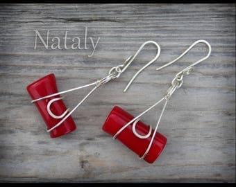 Red Earrings - Coral Earrings - Sterling Silver Wire Wrapped Long Earrings - Red Jewelry Gift for Girlfriend - Minimal Earrings Beauty-Gift