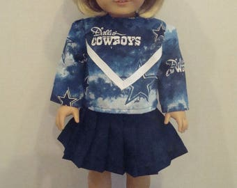 """18 Inch Doll Clothes, Fits 18"""" American Girl Dolls,Dallas Cowboys,cheerleader outfit, ag doll, am girl, football,cheer,READY To Shi"""