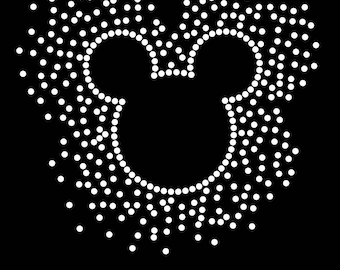 "Choice of 6.3"" Mickey Mouse iron on scatter rhinestone transfer bling applique patch"