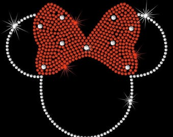 """SALE 9.5"""" x 8"""" HUGE Minnie Mouse iron on rhinestone TRANSFER applique patch"""